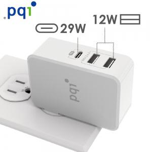 PQI Smart i-Charger PD 41W 智慧快速三孔充電器  (支援Macbook Type C 快速充電)